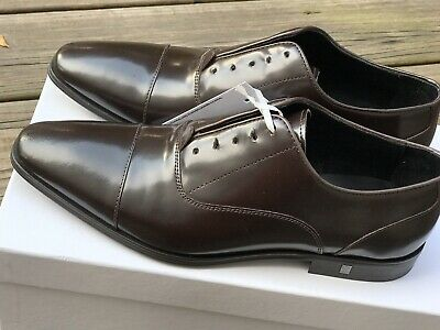 Versace Men's Leather Brown Lace-up Oxford Dress Shoes Sz EUR 41 US 8 NEW