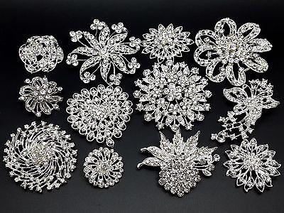 12pc/lot Mixed 7L+5M Sliver Rhinestone Crystal Brooches Pins DIY Wedding Bouquet