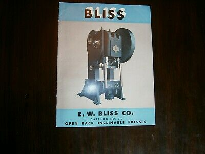 Bliss Open Back Inclinable Presses Sales Brochure 1949