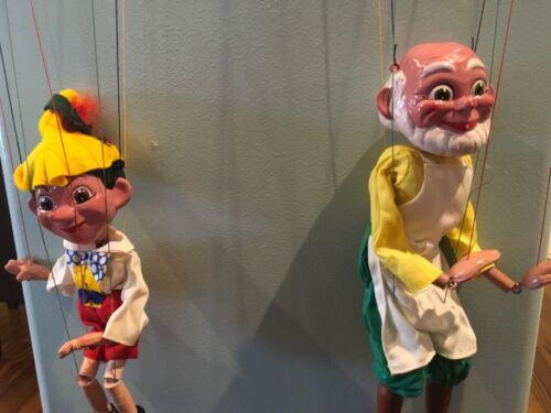Pelham Puppets Pinocchio & Gepetto Hand Made England Vintage Original Boxes Exc.