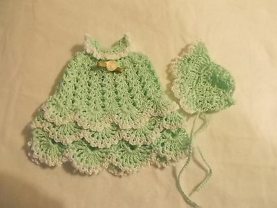 fits 5 inch itty baby 2 piece outfit lot mint with white trim gown and bonnet