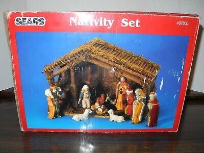 VINTAGE Sears Nativity Manger Set Stable Porcelain 11 Fig Original Box Christmas