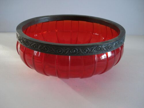 Antique Consolidated Torquay Red Pigeon Blood Art Glass Fruit Bowl