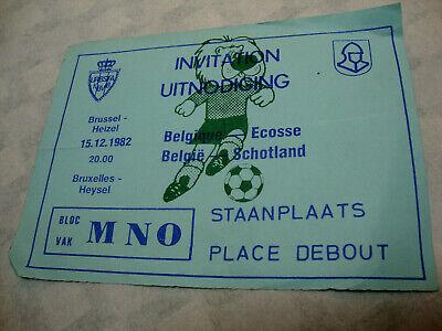 TICKET FOOTBALL BELGIQUE - ECOSSE. 15 - 12 - 1982. Qualification Euro 1984