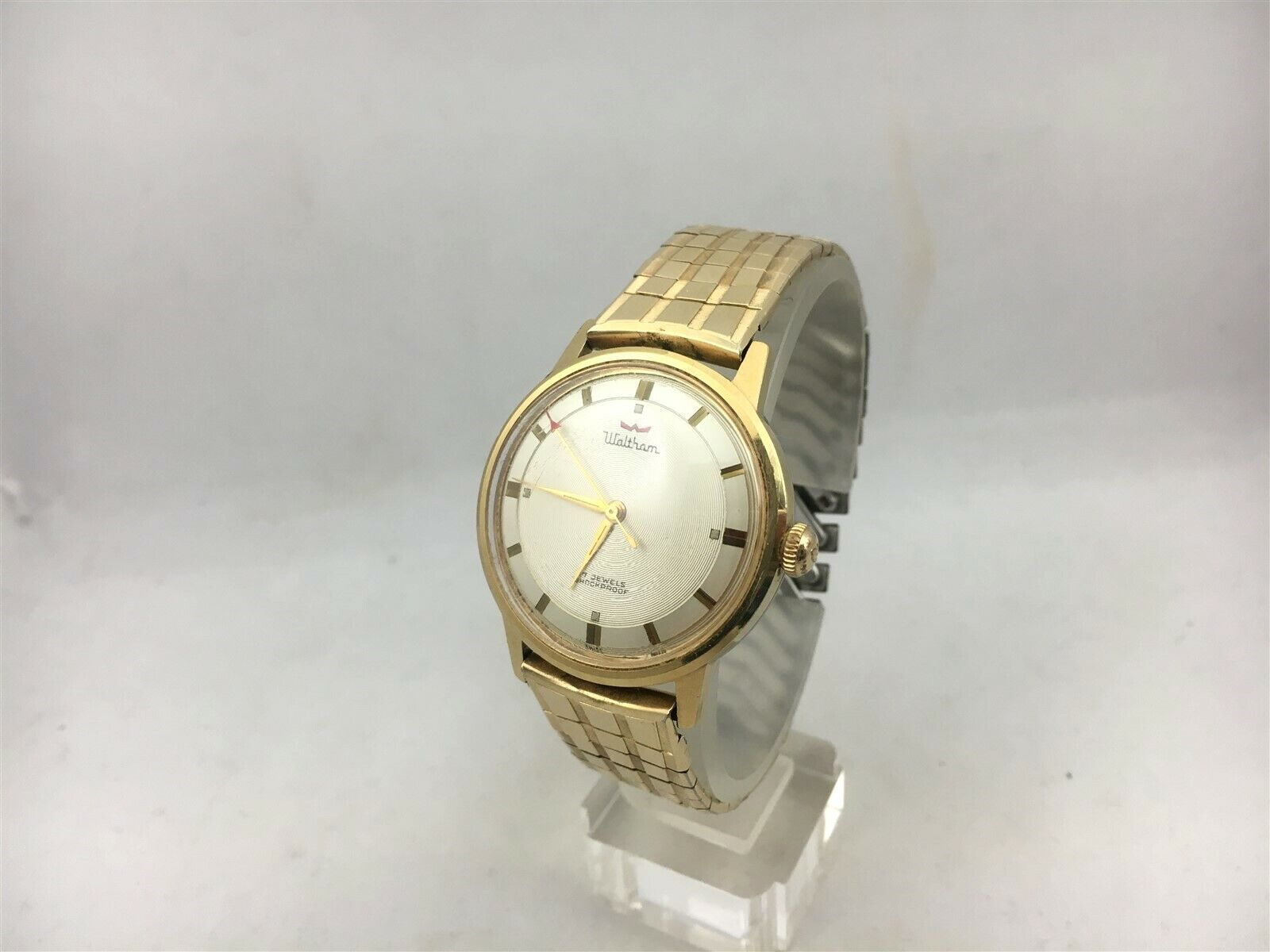Waltham 17 Jewels Gold Tone Watch Antimagnetic Shock Protected Red Arrow - $49.99
