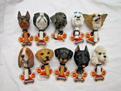 10 NEW Detailed Puppy Dog Bust Heads ART DOOGIES Bottle Stopper Finial Emblems