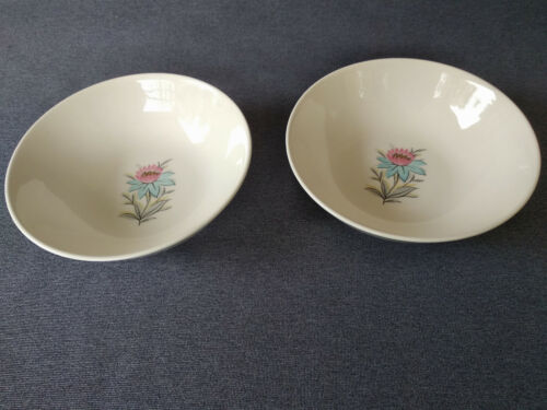 "Vintage Steubenville Pottery Co. Fairlane Floral 6"" Soup/Cereal Bowls - Set of 2"