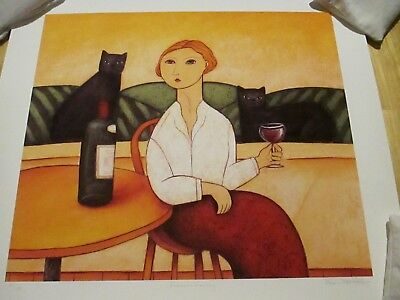 Paine Profitt - wine with cats artwork!  (French Fancy) beautiful serigraph