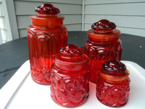 U.S. GLASS SMITH RED-AMBERINA MOON AND STAR CANISTER JAR SET