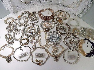 32pc Miriam Haskell Baroque Pearl Necklaces Repair & Parts Lot