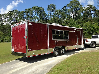 8.5x28 Concession Food Trailer W Sinks Gas And Fire Suppresion