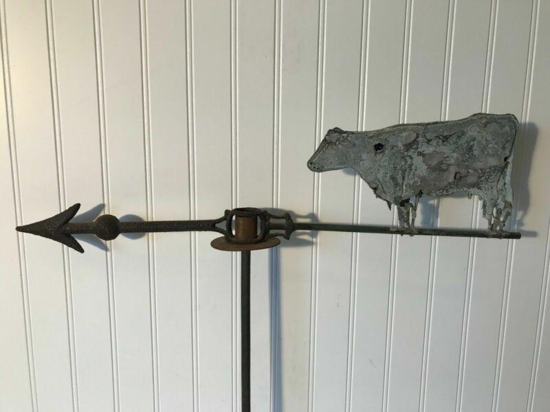 RARE Antique Copper Cast Iron Weathervane Cow Rustic Original Barn Find Farm