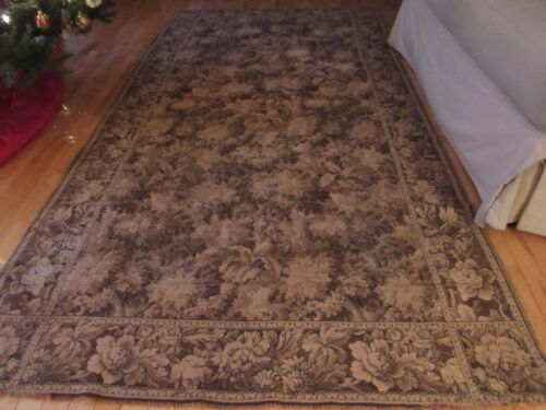 """X LARGE VINTAGE ANTIQUE TAPESTRY RUG WALL HANGING TEXTILE FLORALS 54""""X100"""""""