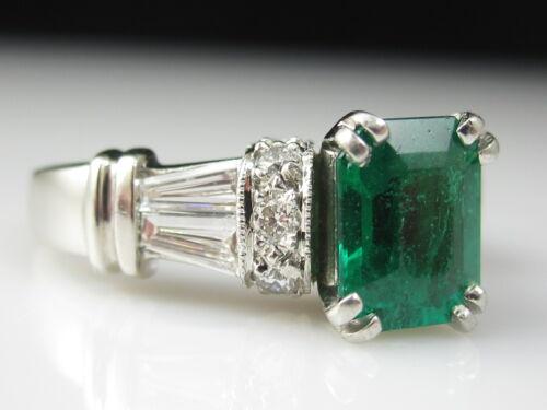 Emerald Diamond Ring Platinum Emerald Cut Baguette Fine Jewelry Engagement