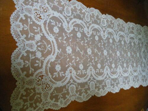 20c Antique Brussels Princesses lace  runner mesh net schiffli  flowers H made