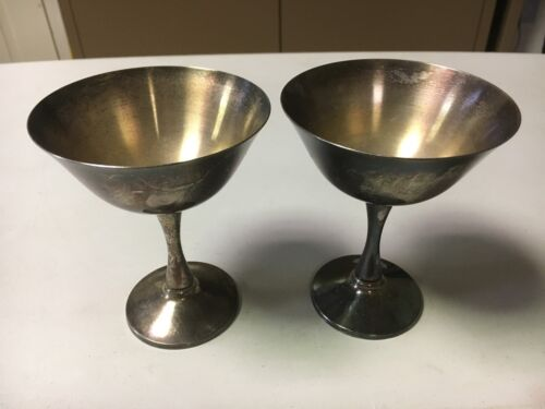 Vintage Salem Silverplate Portugal Silver Plated Wine Champagne Goblets (Pair)