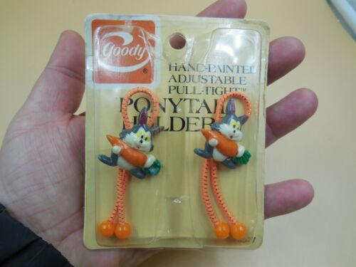 NEW SEALED VINTAGE 1982 GOODY RABBIT WITH CARROT PONYTAIL HOLDERS / PONY TAIL