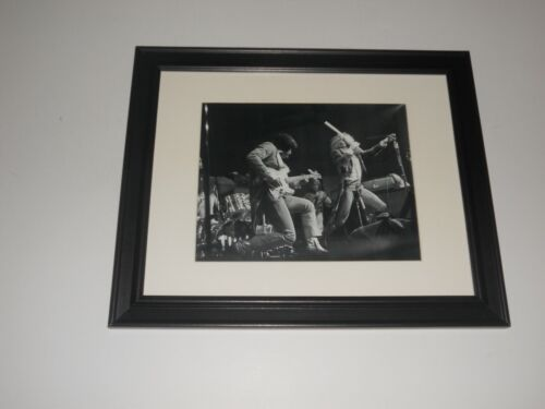 """Framed Ian Anderson / Jethro Tull 1973 on Stage B/W Poster 14"""" x 17"""""""