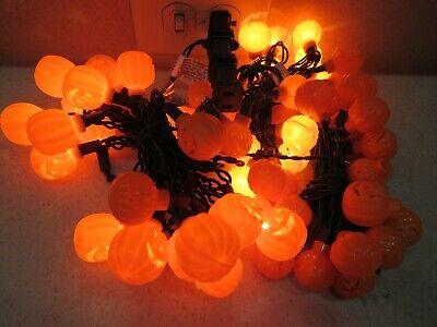 3 Sets 20ct Ea Lot Vintage Blow Mold Pumpkin String Lights Jack O Lantern A3227
