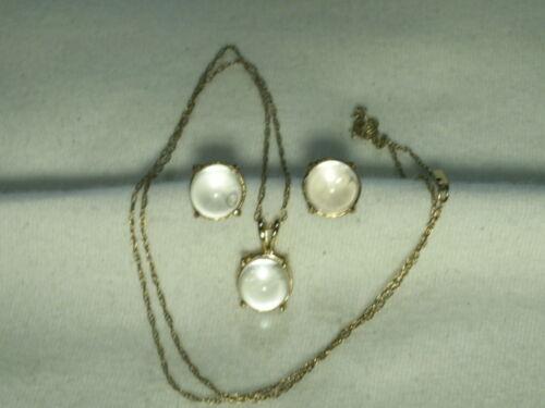 14K Gold Rock Crystal Quartz Pool Of Light Ball Pendant Necklace & Earrings Set