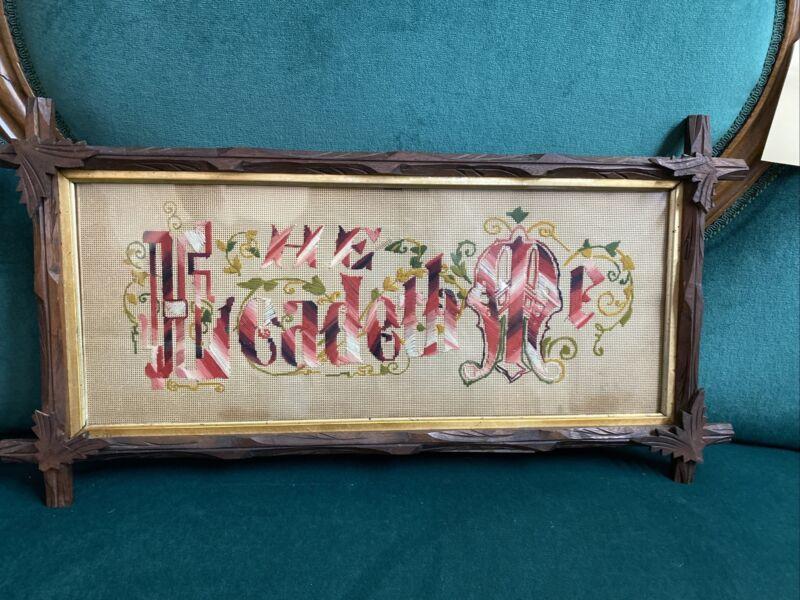 Antique Walnut Frame Needlepoint He Leadeth Me