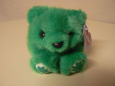 Puffkins Plush PATRICK Green Bear Shamrocks #6678 SWIBCO Birthdate 3-17-98 NWT