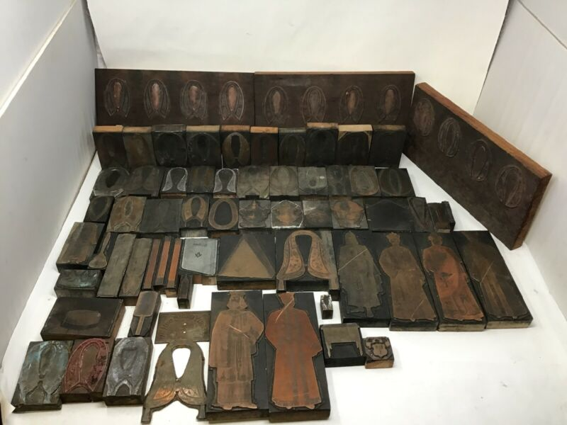 Large Lot Antique Fraternal Lodge Printing Block Plates Odd Fellows Masonic