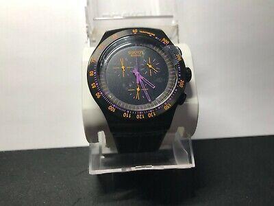 Swatch YOB102 Men's Irony Chronograph Black Dial Black Rubber Watch