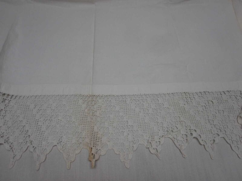 "ANTIQUE PURE LINEN FLAT PILLOW COVER w HAND CROCHET EDGE 33"" X 61"" w 7"" CROCHET"