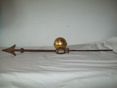"Antique cast iron weatherane directional  arrow + brass/copper  ball 29"""
