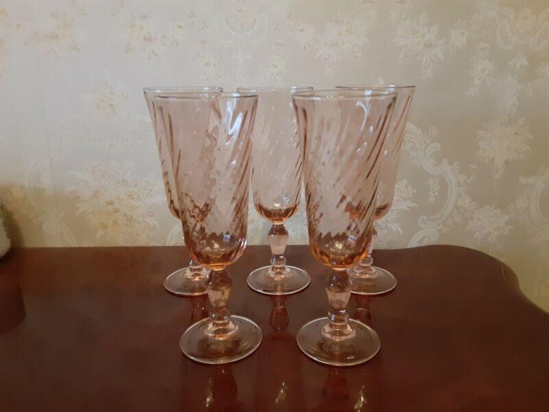 Arcoroc Pink Swirl Champagne Glasses
