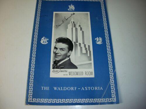 Frank Sinatra Autographed Menu Waldorf Astoria Wedgwood Room