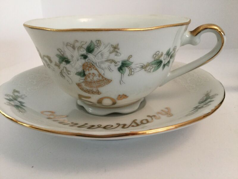 Vintage 50th Anniversary Tea Cup & Saucer Lefton China Hand Painted #1147