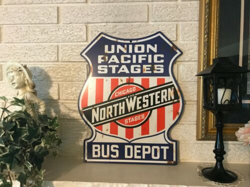 Union Pacific Chicago + Northwestern Bus Depot Stages Reproduction Antiqued Sign