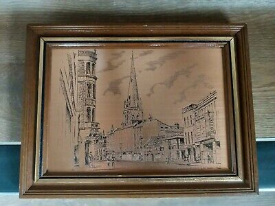 Vintage Picture, Copper Etched, Church Street, Preston, England