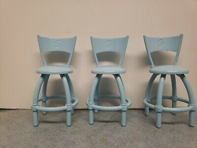 """Lot of 3 Barbie Blue Bar Stools Curved Back """"B"""" Logo Chair Doll House Furniture"""