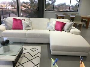 Tribeca White 3 seat leather chaise lounge used for display only