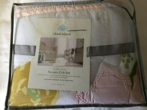 Cloud Island Floral Fields Nursery Crib Set baby girl flowers 4 pc #28713