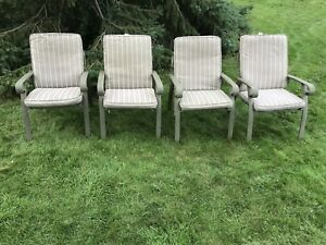 Patio arm chairs with cushions, wide and comfortable