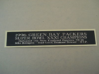 Green Bay Packers Super Bowl 31 Nameplate For A Football Helmet Case 1.5 X 6