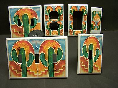 SOUTHWEST CACTUS STAINED GLASS  IMAGE 5 LIGHT SWITCH COVER PLATE ()