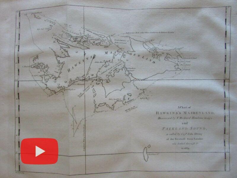 Falkland Islands Hawkins Maidenland 1773 Capt. Cook Hawkesworth map So. America
