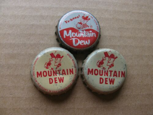 3 DIF MOUNTAIN DEW   CORK SODA BOTTLE CAPS  VINTAGE COLLECTIBLE CROWNS
