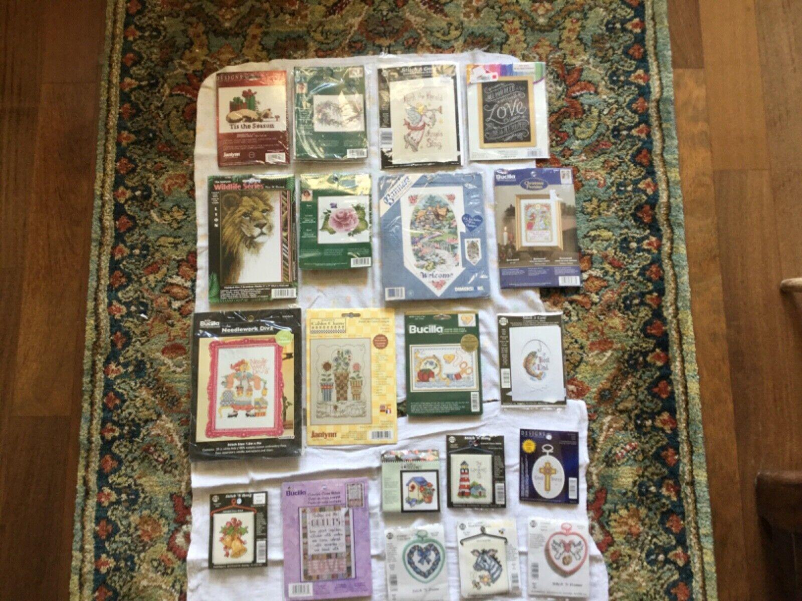 Lot of 20 Cross Stitch Kits NIP Bucilla Janlynn Dimensions N