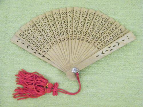 Vintage Beautiful Hand Held Fan, Decorative Fan, Red Tassels