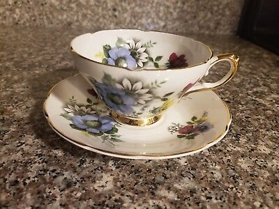 Tea Cup & Saucer Royal Sutherland Staffordshire England - Violets Daisies Roses
