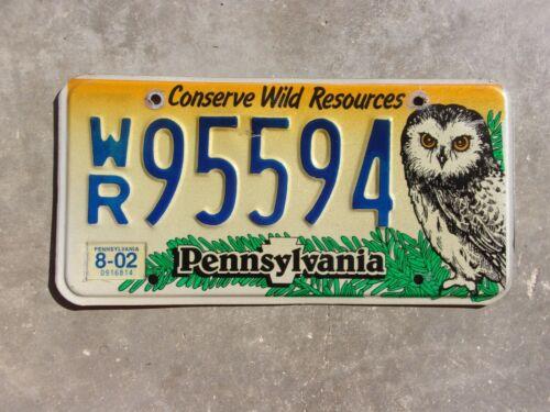 Pennsylvania 2002 OWL license plate  #  95594
