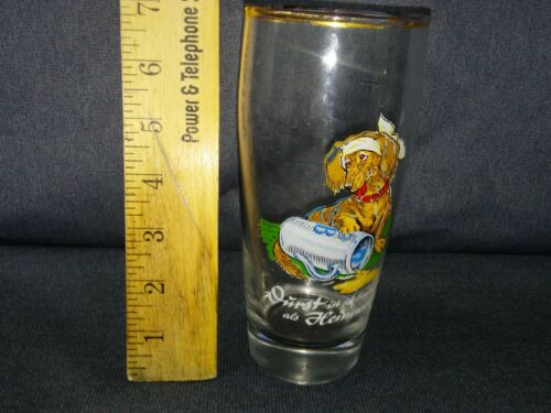 RARE VINTAGE 0.5 LITER GERMAN BEER GLASS WITH DACHSHUND DOG DECAL