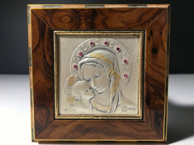 Gorgeous Burl Wood Rosary Box with Sterling Silver Madonna and Child Plaque