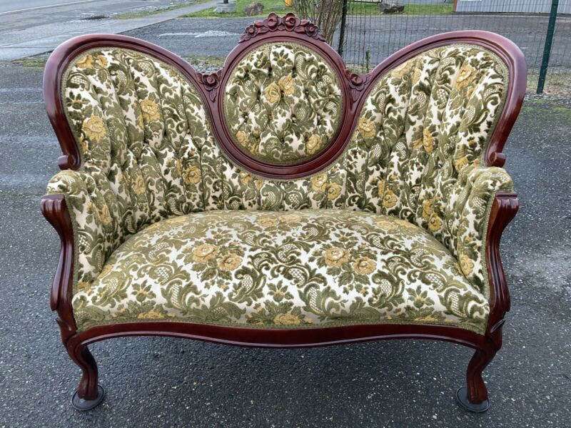 Vintage Victorian Settee Swoop Curved Loveseat Sofa Couch Olive Green Yellow